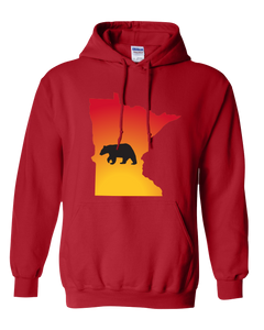Pullover Hooded Sweatshirt Minnesota Red Black Bear Vibrant Design High Quality Tight Knit Ring Spun Low Maintenance Cotton Printed With The Newest Available Color Transfer Technology