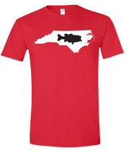 Load image into Gallery viewer, Short Sleeve T-Shirt North Carolina Red Large Mouth Bass Vibrant Design High Quality Tight Knit Ring Spun Low Maintenance Cotton Printed With The Newest Available Color Transfer Technology