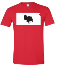 Load image into Gallery viewer, Short Sleeve T-Shirt Kansas Red Turkey Vibrant Design High Quality Tight Knit Ring Spun Low Maintenance Cotton Printed With The Newest Available Color Transfer Technology