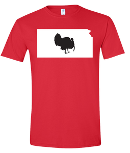 Short Sleeve T-Shirt Kansas Red Turkey Vibrant Design High Quality Tight Knit Ring Spun Low Maintenance Cotton Printed With The Newest Available Color Transfer Technology
