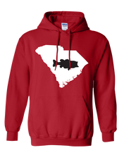 Load image into Gallery viewer, Pullover Hooded Sweatshirt South Carolina Red Large Mouth Bass Vibrant Design High Quality Tight Knit Ring Spun Low Maintenance Cotton Printed With The Newest Available Color Transfer Technology