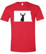Load image into Gallery viewer, Short Sleeve T-Shirt North Dakota Red Whitetail Deer Vibrant Design High Quality Tight Knit Ring Spun Low Maintenance Cotton Printed With The Newest Available Color Transfer Technology