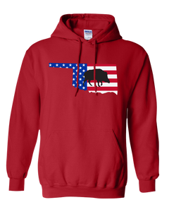 Pullover Hooded Sweatshirt Oklahoma Red Wild Hog Vibrant Design High Quality Tight Knit Ring Spun Low Maintenance Cotton Printed With The Newest Available Color Transfer Technology