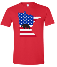Load image into Gallery viewer, Short Sleeve T-Shirt Minnesota Red Black Bear Vibrant Design High Quality Tight Knit Ring Spun Low Maintenance Cotton Printed With The Newest Available Color Transfer Technology