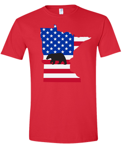 Short Sleeve T-Shirt Minnesota Red Black Bear Vibrant Design High Quality Tight Knit Ring Spun Low Maintenance Cotton Printed With The Newest Available Color Transfer Technology