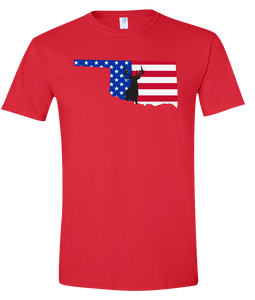 Short Sleeve T-Shirt Oklahoma Red Whitetail Deer Vibrant Design High Quality Tight Knit Ring Spun Low Maintenance Cotton Printed With The Newest Available Color Transfer Technology