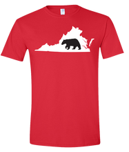 Load image into Gallery viewer, Short Sleeve T-Shirt Virginia Red Black Bear Vibrant Design High Quality Tight Knit Ring Spun Low Maintenance Cotton Printed With The Newest Available Color Transfer Technology