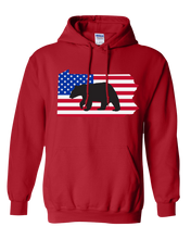 Load image into Gallery viewer, Pullover Hooded Sweatshirt Pennsylvania Red Black Bear Vibrant Design High Quality Tight Knit Ring Spun Low Maintenance Cotton Printed With The Newest Available Color Transfer Technology