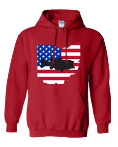 Pullover Hooded Sweatshirt Ohio Red Large Mouth Bass Vibrant Design High Quality Tight Knit Ring Spun Low Maintenance Cotton Printed With The Newest Available Color Transfer Technology
