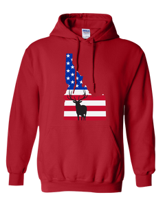 Pullover Hooded Sweatshirt Idaho Red Elk Vibrant Design High Quality Tight Knit Ring Spun Low Maintenance Cotton Printed With The Newest Available Color Transfer Technology