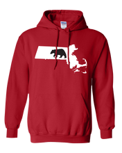 Load image into Gallery viewer, Pullover Hooded Sweatshirt Massachusetts Red Black Bear Vibrant Design High Quality Tight Knit Ring Spun Low Maintenance Cotton Printed With The Newest Available Color Transfer Technology