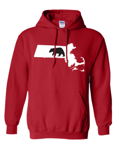 Pullover Hooded Sweatshirt Massachusetts Red Black Bear Vibrant Design High Quality Tight Knit Ring Spun Low Maintenance Cotton Printed With The Newest Available Color Transfer Technology