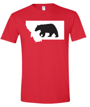 Load image into Gallery viewer, Short Sleeve T-Shirt Montana Red Black Bear Vibrant Design High Quality Tight Knit Ring Spun Low Maintenance Cotton Printed With The Newest Available Color Transfer Technology