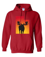 Load image into Gallery viewer, Pullover Hooded Sweatshirt Utah Red Moose Vibrant Design High Quality Tight Knit Ring Spun Low Maintenance Cotton Printed With The Newest Available Color Transfer Technology
