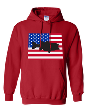 Load image into Gallery viewer, Pullover Hooded Sweatshirt Wyoming Red Large Mouth Bass Vibrant Design High Quality Tight Knit Ring Spun Low Maintenance Cotton Printed With The Newest Available Color Transfer Technology