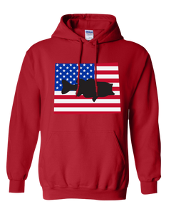Pullover Hooded Sweatshirt Wyoming Red Large Mouth Bass Vibrant Design High Quality Tight Knit Ring Spun Low Maintenance Cotton Printed With The Newest Available Color Transfer Technology