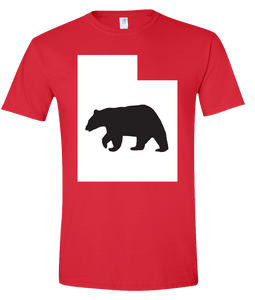Short Sleeve T-Shirt Utah Red Black Bear Vibrant Design High Quality Tight Knit Ring Spun Low Maintenance Cotton Printed With The Newest Available Color Transfer Technology