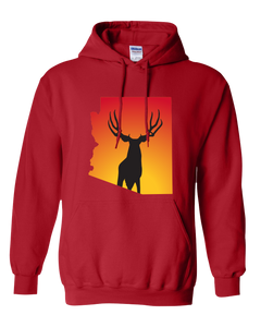 Pullover Hooded Sweatshirt Arizona Red Mule Deer Vibrant Design High Quality Tight Knit Ring Spun Low Maintenance Cotton Printed With The Newest Available Color Transfer Technology