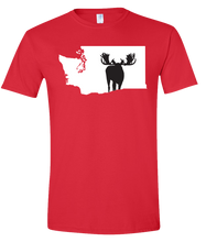 Load image into Gallery viewer, Short Sleeve T-Shirt Washington Red Moose Vibrant Design High Quality Tight Knit Ring Spun Low Maintenance Cotton Printed With The Newest Available Color Transfer Technology