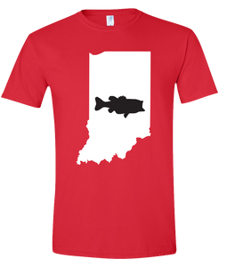 Short Sleeve T-Shirt Indiana Red Large Mouth Bass Vibrant Design High Quality Tight Knit Ring Spun Low Maintenance Cotton Printed With The Newest Available Color Transfer Technology