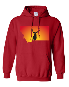 Pullover Hooded Sweatshirt Montana Red Mule Deer Vibrant Design High Quality Tight Knit Ring Spun Low Maintenance Cotton Printed With The Newest Available Color Transfer Technology