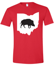 Load image into Gallery viewer, Short Sleeve T-Shirt Ohio Red Wild Hog Vibrant Design High Quality Tight Knit Ring Spun Low Maintenance Cotton Printed With The Newest Available Color Transfer Technology