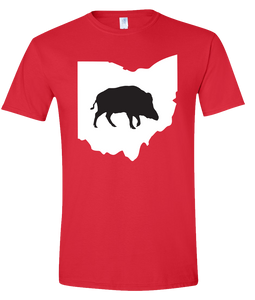 Short Sleeve T-Shirt Ohio Red Wild Hog Vibrant Design High Quality Tight Knit Ring Spun Low Maintenance Cotton Printed With The Newest Available Color Transfer Technology