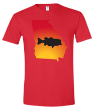 Load image into Gallery viewer, Short Sleeve T-Shirt Georgia Red Large Mouth Bass Vibrant Design High Quality Tight Knit Ring Spun Low Maintenance Cotton Printed With The Newest Available Color Transfer Technology