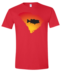 Short Sleeve T-Shirt South Carolina Red Large Mouth Bass Vibrant Design High Quality Tight Knit Ring Spun Low Maintenance Cotton Printed With The Newest Available Color Transfer Technology