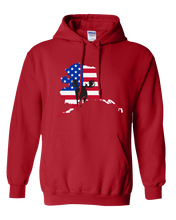 Load image into Gallery viewer, Pullover Hooded Sweatshirt Alaska Red Moose Vibrant Design High Quality Tight Knit Ring Spun Low Maintenance Cotton Printed With The Newest Available Color Transfer Technology