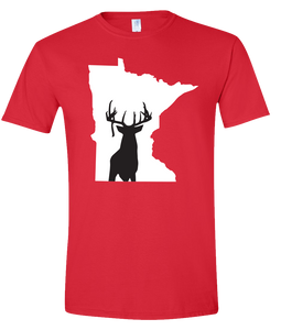 Short Sleeve T-Shirt Minnesota Red Whitetail Deer Vibrant Design High Quality Tight Knit Ring Spun Low Maintenance Cotton Printed With The Newest Available Color Transfer Technology