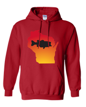 Load image into Gallery viewer, Pullover Hooded Sweatshirt Wisconsin Red Large Mouth Bass Vibrant Design High Quality Tight Knit Ring Spun Low Maintenance Cotton Printed With The Newest Available Color Transfer Technology