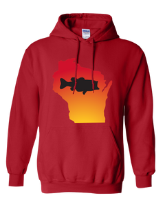 Pullover Hooded Sweatshirt Wisconsin Red Large Mouth Bass Vibrant Design High Quality Tight Knit Ring Spun Low Maintenance Cotton Printed With The Newest Available Color Transfer Technology