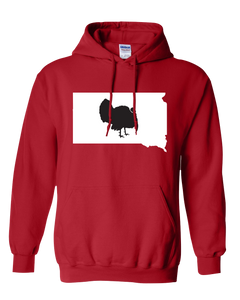 Pullover Hooded Sweatshirt South Dakota Red Turkey Vibrant Design High Quality Tight Knit Ring Spun Low Maintenance Cotton Printed With The Newest Available Color Transfer Technology