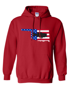 Pullover Hooded Sweatshirt Oklahoma Red Large Mouth Bass Vibrant Design High Quality Tight Knit Ring Spun Low Maintenance Cotton Printed With The Newest Available Color Transfer Technology