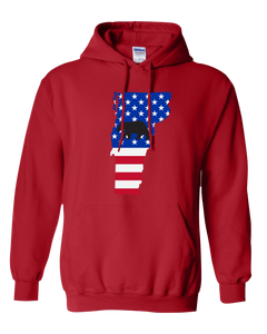 Pullover Hooded Sweatshirt Vermont Red Black Bear Vibrant Design High Quality Tight Knit Ring Spun Low Maintenance Cotton Printed With The Newest Available Color Transfer Technology