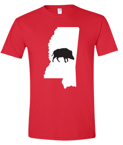 Short Sleeve T-Shirt Mississippi Red Wild Hog Vibrant Design High Quality Tight Knit Ring Spun Low Maintenance Cotton Printed With The Newest Available Color Transfer Technology