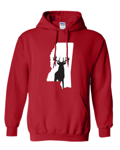 Pullover Hooded Sweatshirt Mississippi Red Whitetail Deer Vibrant Design High Quality Tight Knit Ring Spun Low Maintenance Cotton Printed With The Newest Available Color Transfer Technology