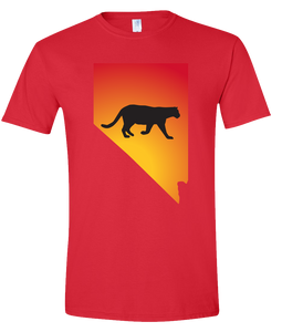 Short Sleeve T-Shirt Nevada Red Mountain Lion Vibrant Design High Quality Tight Knit Ring Spun Low Maintenance Cotton Printed With The Newest Available Color Transfer Technology