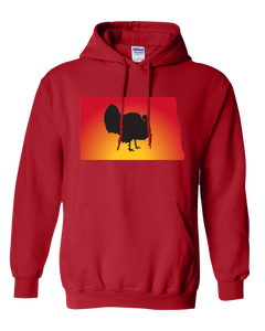 Pullover Hooded Sweatshirt North Dakota Red Turkey Vibrant Design High Quality Tight Knit Ring Spun Low Maintenance Cotton Printed With The Newest Available Color Transfer Technology