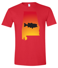 Load image into Gallery viewer, Short Sleeve T-Shirt Alabama Red Large Mouth Bass Vibrant Design High Quality Tight Knit Ring Spun Low Maintenance Cotton Printed With The Newest Available Color Transfer Technology