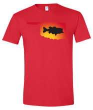 Load image into Gallery viewer, Short Sleeve T-Shirt Oklahoma Red Large Mouth Bass Vibrant Design High Quality Tight Knit Ring Spun Low Maintenance Cotton Printed With The Newest Available Color Transfer Technology