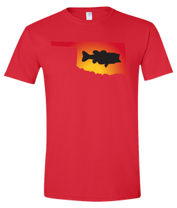 Short Sleeve T-Shirt Oklahoma Red Large Mouth Bass Vibrant Design High Quality Tight Knit Ring Spun Low Maintenance Cotton Printed With The Newest Available Color Transfer Technology