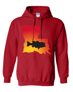Pullover Hooded Sweatshirt Louisiana Red Large Mouth Bass Vibrant Design High Quality Tight Knit Ring Spun Low Maintenance Cotton Printed With The Newest Available Color Transfer Technology