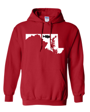 Load image into Gallery viewer, Pullover Hooded Sweatshirt Maryland Red Large Mouth Bass Vibrant Design High Quality Tight Knit Ring Spun Low Maintenance Cotton Printed With The Newest Available Color Transfer Technology