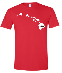 Short Sleeve T-Shirt Hawaii Red Large Mouth Bass Vibrant Design High Quality Tight Knit Ring Spun Low Maintenance Cotton Printed With The Newest Available Color Transfer Technology