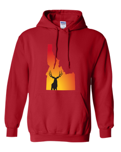 Pullover Hooded Sweatshirt Idaho Red Mule Deer Vibrant Design High Quality Tight Knit Ring Spun Low Maintenance Cotton Printed With The Newest Available Color Transfer Technology