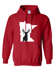 Pullover Hooded Sweatshirt Minnesota Red Whitetail Deer Vibrant Design High Quality Tight Knit Ring Spun Low Maintenance Cotton Printed With The Newest Available Color Transfer Technology