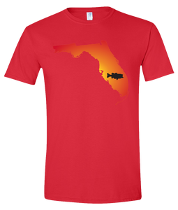 Short Sleeve T-Shirt Florida Red Large Mouth Bass Vibrant Design High Quality Tight Knit Ring Spun Low Maintenance Cotton Printed With The Newest Available Color Transfer Technology