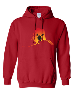 Pullover Hooded Sweatshirt Alaska Red Moose Vibrant Design High Quality Tight Knit Ring Spun Low Maintenance Cotton Printed With The Newest Available Color Transfer Technology